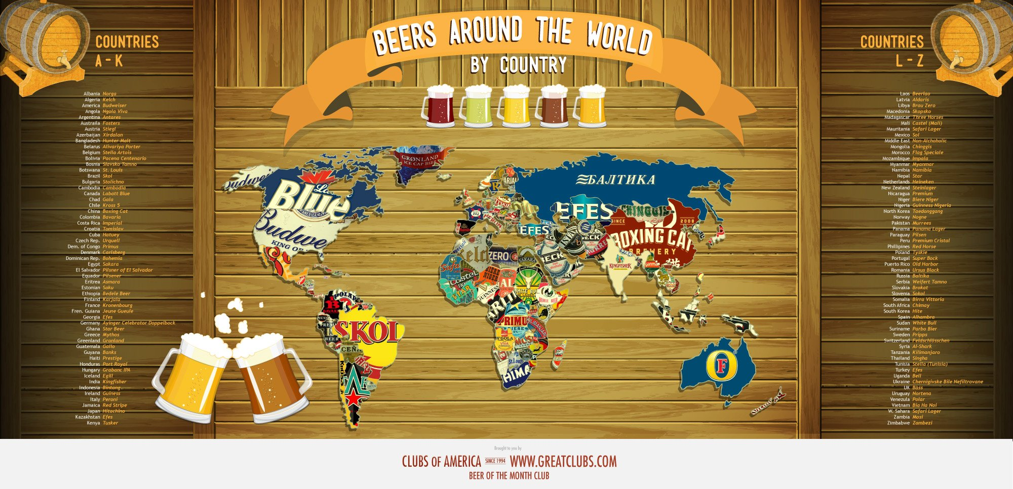 Beers of the world map