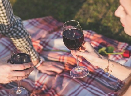 Two people on a blanket drinking the best wine from our Wine of the Month Club